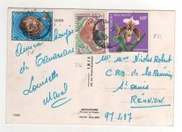 Timbres , Stamps Yvert N° 518 ( Abimé ) , 531 , 536 Sur Cp , Carte , Postcard De 1975 - Madagascar (1960-...)