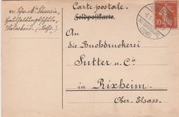 France Lorraine Cachet Allemand Walscheid Sur Timbre Français Sur Carte 1919 - Marcophilie (Lettres)