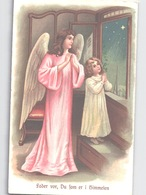 Ange Angel Saying Lord's Prayer (in Danish) Embossed High Quality Postcard Gaufré C. 1908 - Angeles