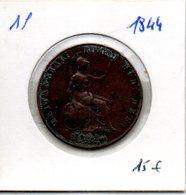 1 Penny Victoria 1844 - 1816-1901 : Frappes XIX° S.