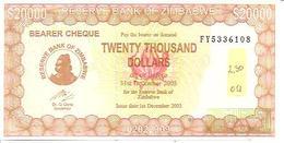 Zimbabwe  P-23  20000 Dollars  2005 - Zimbabwe