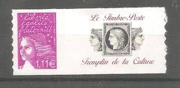LUQUET Y&T N° 3729D**- 1,11 € Lilas. Légende RF- Type 2 - Autoadhésif. Avec Grande Vignette Personnalisée Cérès.TB. - Personalisiert