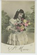 """ENFANTS - LITTLE GIRL - MAEDCHEN - Jolie Carte Fantaisie Portrait Fillette Et Fleurs """"Sainte MARIE """" - Prénoms"""
