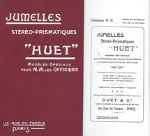 JUMELLES-HUET-STEREO-PRISMATIQUE-LONGUE VUE-MILITAIRES-ARTILLERIE-CAVALERIE-STADIA-TELEMETRE-MICROMETRES-BOUSSOLE- - Reklame