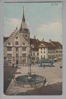 AK CH ZG Zug Kolinplatz Mit Aegeri-Tram Foto J.Trachsler #1051 Zug 1910-06-18 - ZG Zoug