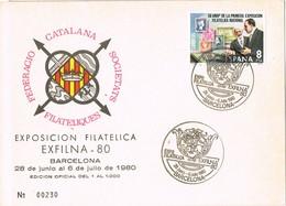 30704. Tarjeta Exposicion BARCELONA 1980. EXFILNA 80 - 1931-Hoy: 2ª República - ... Juan Carlos I