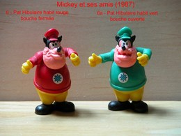 """Kinder 1987 : 2 Variantes Pat Hibulaire Tenue Rouge Bouche Fermée Et Tenue Verte Bouche Ouverte """"Mickey & Ses Amis"""" - Dessins Animés"""