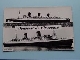 """"""" QUEEN MARY """" & QUEEN ELIZABETH """" Cherbourg Souvenir ( 1838 ) Anno 19?? ( Voir Photo Details ) ! - Paquebots"""