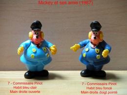 "Kinder 1987 : 2 Variantes : Commissaire Pinot - Tenue Bleu Clair & Bleu Foncé ""Mickey & Ses Amis - Dessins Animés"