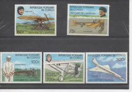 CONGO - Aviation - Histoire De L'aviation : Louis Blériot, Roland Garros, Charles Lindbergh, Tupolev Tu-144, Trajan Vuia - Congo - Brazzaville