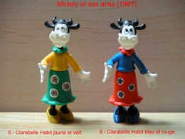 "Kinder 1987 : 2 Variantes : Clarabelle Tenue Bleu & Rouge Et Tenue Vert & Jaune ""Mickey & Ses Amis - Dessins Animés"