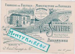 Vieux  Papier :  Calvados :  Charente :  BARBEZIEUX : Fabrique De Feutres , Manufacture De Sandales - Cartes De Visite