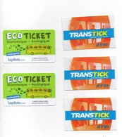 5 Used Tickets Bus Metro RTM Marseille France - Bus