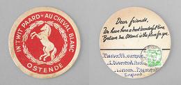 Sous-bock Bière Unique Brasserie AU CHEVAL BLANC OSTENDE Timbre 1964 Beer Mat Coaster Bierdeckel - Sous-bocks