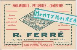 Vieux  Papier :  R. FERRE  : Boulangerie Patisseries  : Caen , Paris , LE MANS - Cartes De Visite