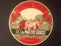 17013 - étiquette De Fromage - Camembert Maigre 0% De Matière Grasse - Guerre 1939 1945 - Charente Maritime 17 - Fromage