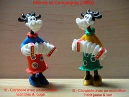 """Kinder 1990 : 2 Variantes : Clarabelle Avec Accordéon Tenue Rouge & Bleu Et Tenue Jaune & Vert """"Mickey & Compagnie"""" - Dessins Animés"""