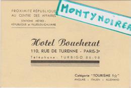 Vieux  Papier :  Carte De  Visite : Paris  3 Em Hotel  Boucherat ( Station Métro République-filles Du  Calvaire ) - Cartes De Visite