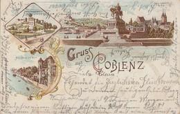 Litho Gruss Aus Coblenz Color Gelaufen Barmen 16.1.00 - Koblenz