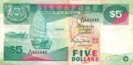 BILLET SINGAPORE FIVE DOLLARS 5 DOLLARS - Singapour