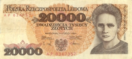 BILLET  POLOGNE POLSKI 20000 ZLOTYCH  1989 - Pologne