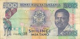BILLET  TANZANIE TANZANIA  VALEUR 500 - Tanzania