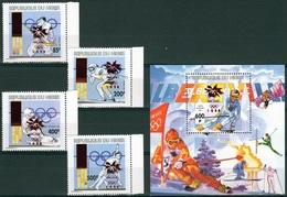 Niger 1996, Winter Olympig Games In Nagano, Sking, Skating, Space, Overpr. In RED, 4val+BF - Space