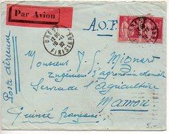 Paix 1f75 X2 Sur Lettre Par Avion De 1937 Pour La Guinée (Etiquette Par Avion Rouge) - Poststempel (Briefe)
