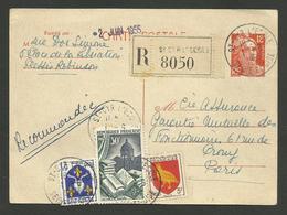 Entier Carte Postale 12F Marianne De Gandon & Blason / Recommandé ST CYR L'ECOLE 01.06.1955 - 1921-1960: Période Moderne