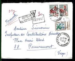 1967 - LETTRE DE FRESSE SUR MOSELLE - VOSGES POUR REMIREMONT - RETOUR A L'ENVOYEUR  - REFUSÉ + Taxe 30C - 1962-65 Cock Of Decaris