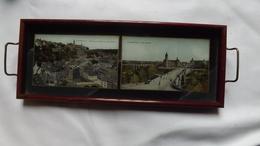 Très Ancien  PLATEAU  Incrusté De Deux Cartes Postales Du LUXEMBOURG - Pont Adolphe Et Faubourg Du Grund.   (très Rare) - Verre & Cristal