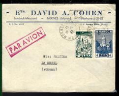 1947 - MAROC - LETTRE DE MEKNÈS POUR LE MÉNIL - THILLOT (VOSGES) - PAR AVION - Marokko (1891-1956)