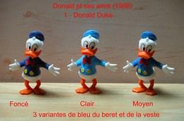 "Kinder 1988 : 3 Variantes : Donald Tenue Bleu Clair/foncé & Bleu Moyen ""Donald & Ses Amis"" - Dessins Animés"