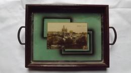 Très Ancien  PLATEAU  Avec Carte Postale De BONSECOURS Sous Verre - Panorama.   (très Rare) - Verre & Cristal