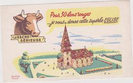 Vieux  Papier :Buvard  : La Vache , Efgé  :  église - Buvards, Protège-cahiers Illustrés