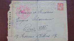 Lettre De Mulhouse 19 Decembre 1944 écrite En Allemand Et Transmise Via La Croix Rouge Du Haut Rhin Pour Paris - Marcophilie (Lettres)