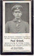 Sterbebild Paul GRÜNDL - Gefreiter Bij Kgl. 16. Inf.- Regt. 9.Komp. - Gestorven 1917 - 1914-18
