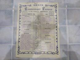 Menu Restaurant Ferrer Rue Colbert Marseille Du 17 Juin 1918 - Menus