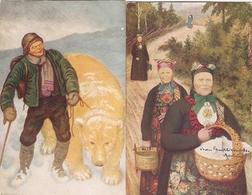 Lot Of 2 Norge Postcards From Kittelsen, Ed. M. Co Serie 1254, Written 1912, Bear, Going To The Market - Norvège