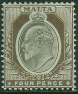 MALTA 1904 KEVII 4d Wmk Crown CA SG 43 Mounted Mint - Malta (...-1964)