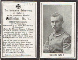 Sterbebild Wilhelm RUTZ - Unteroffiz. II.bayer. Res.-Inf.-Regt/ 12. Komp. - 1918 - Begraven MENEN/MENIN - I.2552 - 1914-18