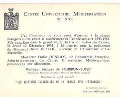 CENTRE UNIVERSITAIRE MEDITERRANEEN DE NICE- 1953-INVITATION A AMPHITHEATRE DU PALAIS DU CENTRE - Cartes