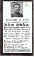 Sterbebild Johann GRÜNHAGER - Sold. 13.Inf-Res-Reg-10.Komp.- 1914 Begraven  ASCHEVILLE Overgebracht ST.LAURENT-BLANGY - 1914-18