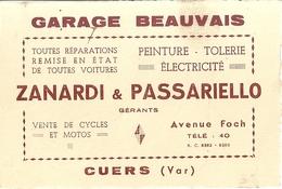 GARAGE BEAUVAIS- ZANARDI & PASSARIELLO  GERANTS -AVENUE FOCH CUERS VAR -REPARATIONS VOITURES - Cartes De Visite