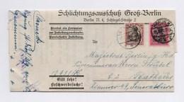 DR Dienstbrief Schlichtungsausschuß Groß Berlin 50/80Pfg Germania Perfin TSt BERLIN 1920 - Dienstpost