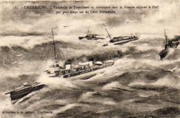 Marine Militaire Française- CHERBOURG- Escadrille De Torpilleurs En Manoeuvre Dans La Manche  ... - Krieg