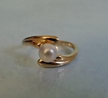 Bague En Plaqué Or Poinçonnée Ornée D'une Perle D'eau Douce Neuve Taille 51 - Rings