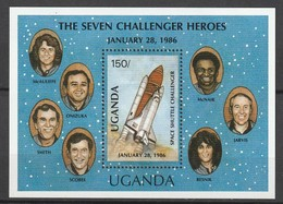 OUGANDA - BLOC N°70 **  (1987) - ESPACE- CHALLENGER - Africa