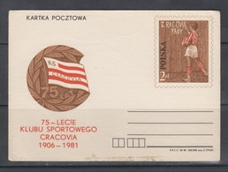 Poland 1981 Sports Club Cracovia - Stamped Stationery
