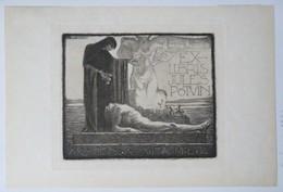 Ex-libris Illustré Belgique XXème - Jules POTVIN -  Sigle ABCDE Sur Le Papier - Ex Libris